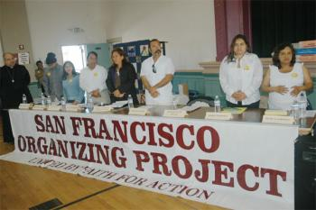 Members of the new San Francisco Organization Project: , during an event on the S.F. Sancturary, with Mayor Gavin Newsom, State Sen. Carol Midgen, and Assemblymember Mark Leno at St. Peter's Church.