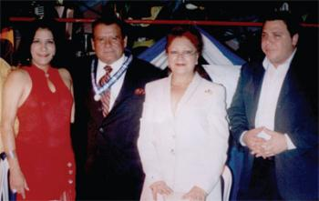 L-R: Actress Evelyn Martínez, singer/author Sergio Tapia, Mexico Embassador Columba Calvo, and the president of the Association: of Nicaraguan Artists Hosman Balmaceda, during the award the Artist of the Year event in Managua, Nicaragua.
