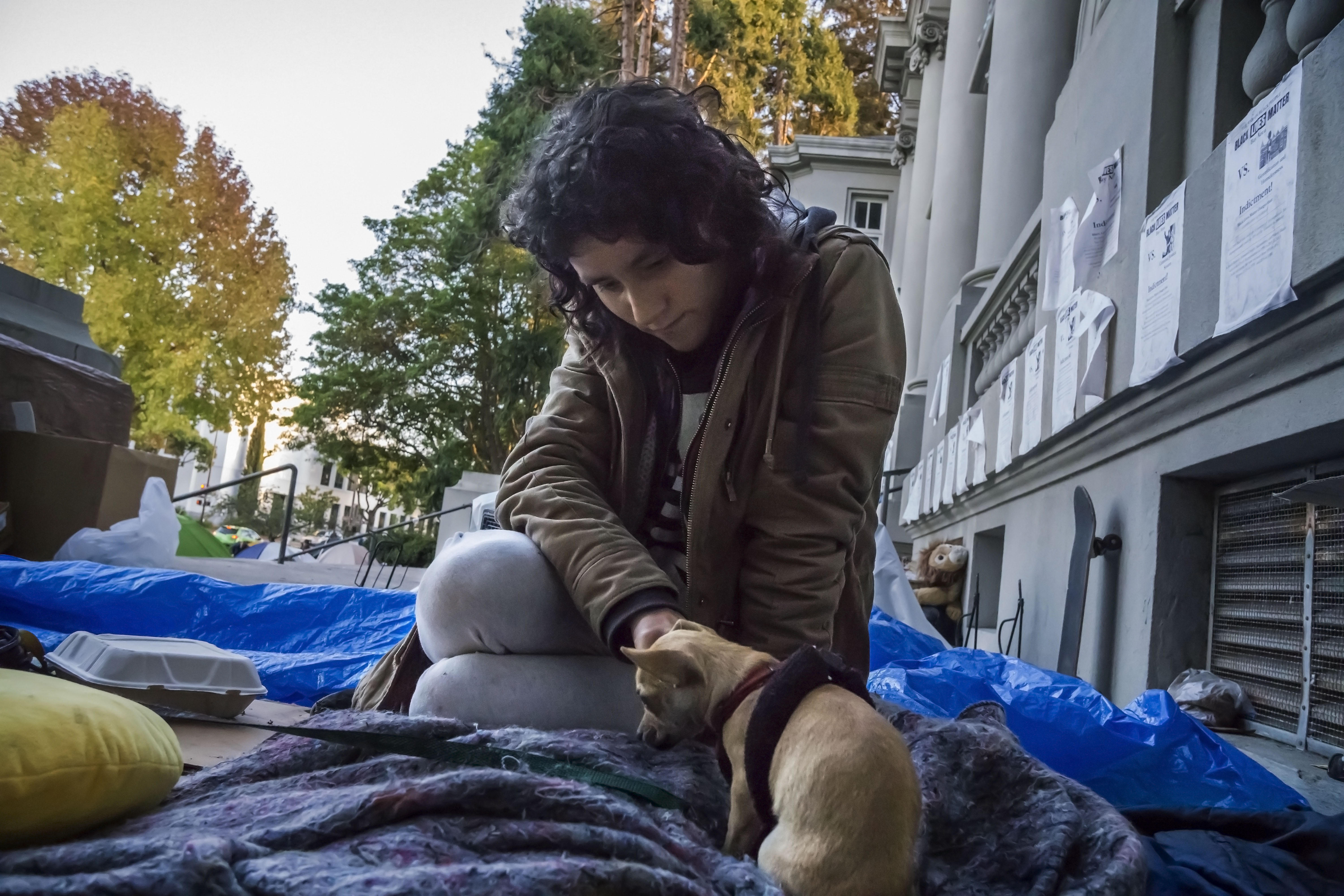 BERKELEY, CA - 24NOVEMBER15 - The camp outside the old Berkeley City Hall, called by the residents an occupation.  It is a protest against the Berkeley City Council passing an anti-homeless ordinance.  Copyright David Bacon