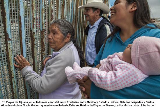 """""""No touching"""" through the border's iron bars"""