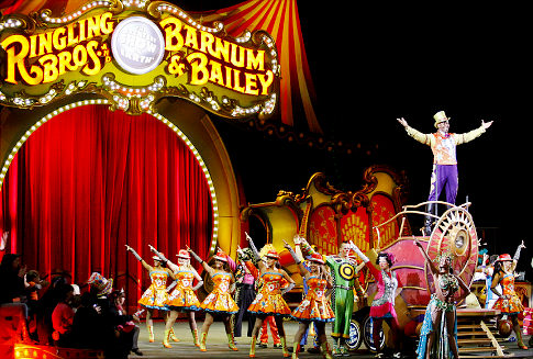 Ringling Bros. and Barnum & Bailey Circus Ringmaster Johnathan Lee Iverson, entertains the crowd at the Prudential Center in Newark, New Jersey.   Original Filename: Denver12.jpg
