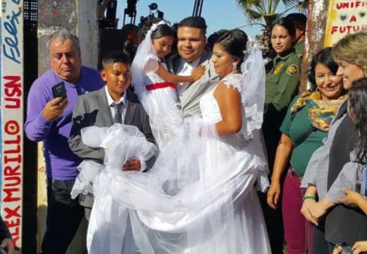 Border-wall wedding couple's only option