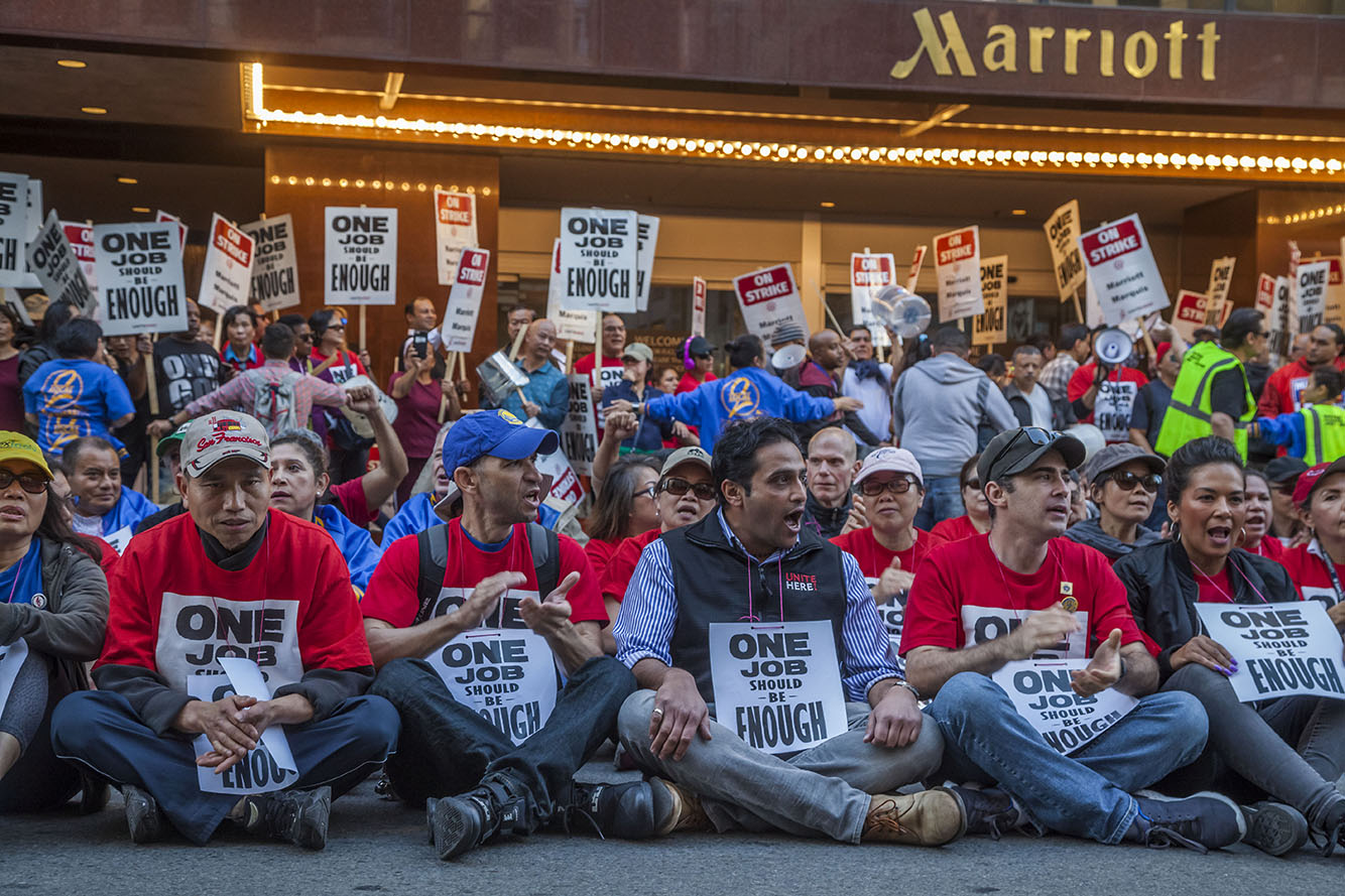 Hotel Workers Get Arrested During their Strike Against Marriott Hotels in San Francisco